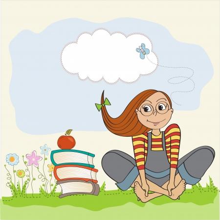 studious: studious girl sitting barefoot in the grasss, vector illustration Illustration