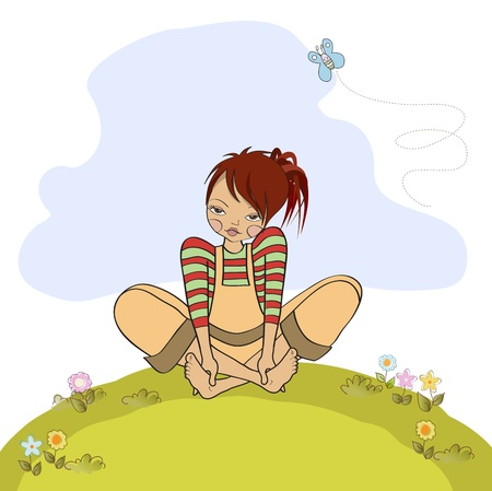 romantic girl sitting barefoot in the grass, vector illustration