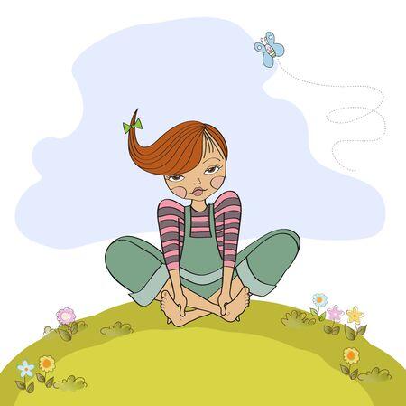 barefoot teens: romantic girl sitting barefoot in the grass, vector illustration