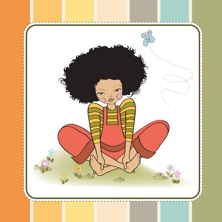 dreamy: romantic girl sitting barefoot in the grass, vector illustration