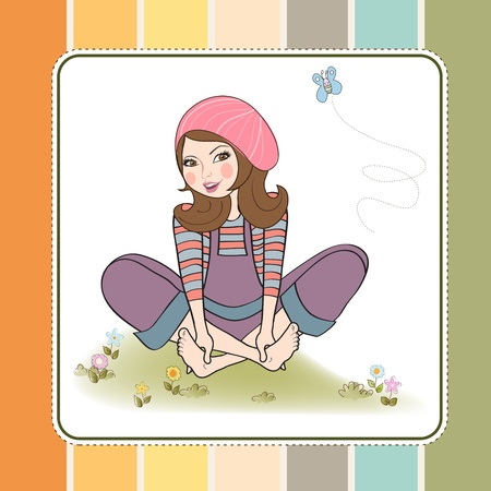 young girls nature: romantic girl sitting barefoot in the grass, vector illustration
