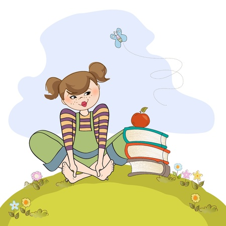 studious: studious girl sitting barefoot in the grasss, vector illustration Illustration