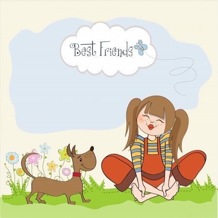 barefoot teens: romantic girl sitting barefoot in the grass with her cute dog, vector illustration