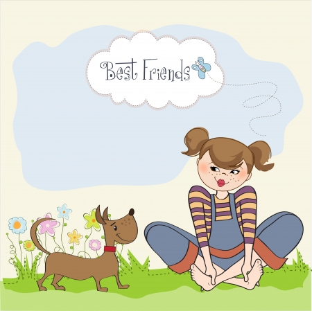 young woman sitting: romantic girl sitting barefoot in the grass with her cute dog, vector illustration