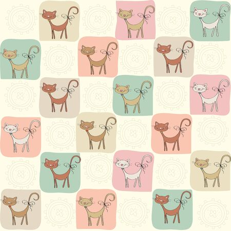 childish seamless pattern with cats, vector illustration Vector