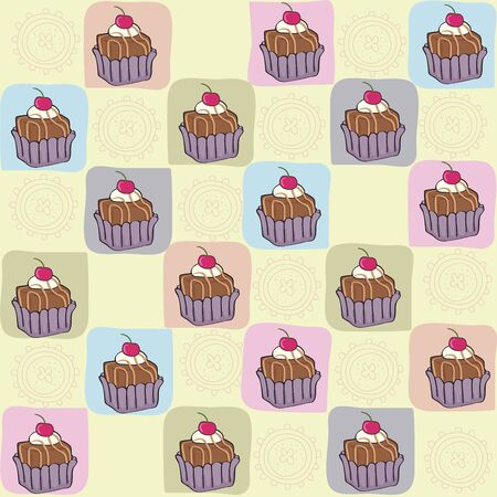 childish seamless pattern with cupcakes, vector illustration Vector