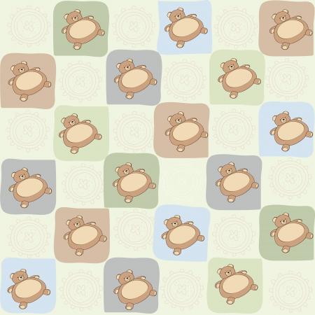 babyish animal: childish seamless pattern with teddy bear, vector illustration