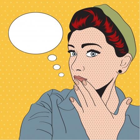 cara de sorpresa: vintage girl pop art en formato vectorial