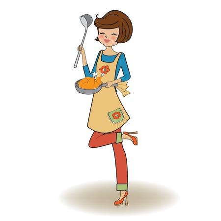 donna cucina, illustrazione, vettore Vettoriali
