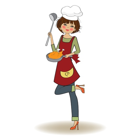 jasschort: vrouw koken, illustratie in vector Stock Illustratie