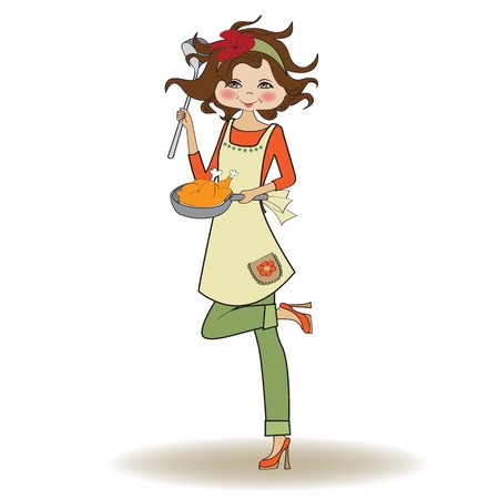 female chef: woman cooking, illustration in vector Illustration