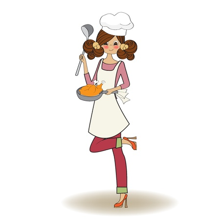 chef cooking: woman cooking, illustration in vector Illustration