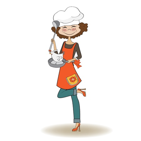 cook house: woman cooking, illustration in vector Illustration