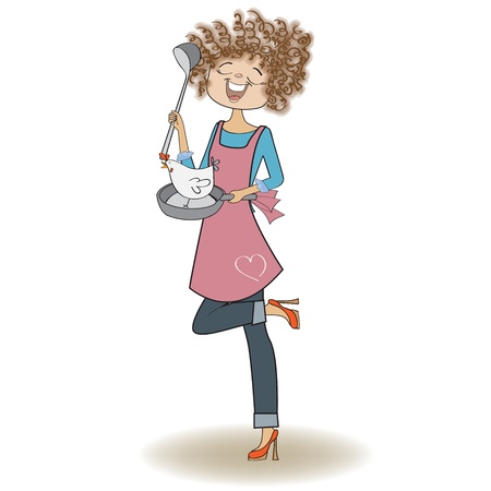 woman cooking, illustration in vector Vector
