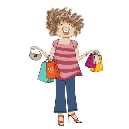 woman at shopping, illustration in vector format Vector