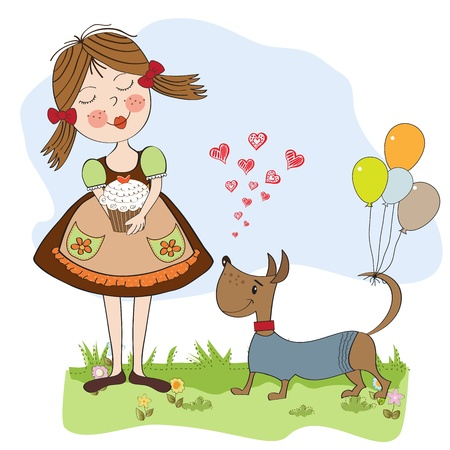 girl with birthday cake, illustration in vector format Stock Vector - 19716070