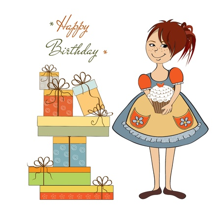 girl with birthday cake, illustration in vector format Stock Vector - 19716071