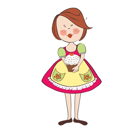 girl with birthday cake, illustration in vector format Stock Vector - 19716052