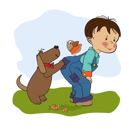 little boy playing with his dog, illustration in  format Vector