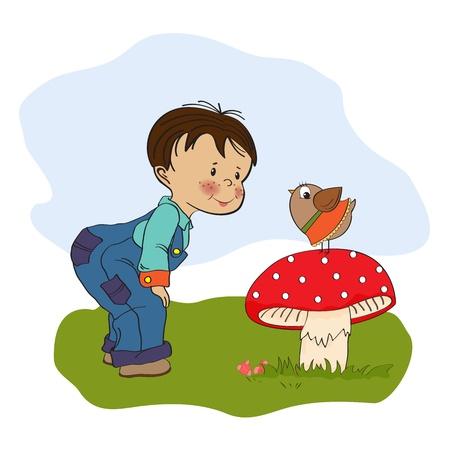 little  boy talk with funny bird, illustration  Stock Vector - 19930197