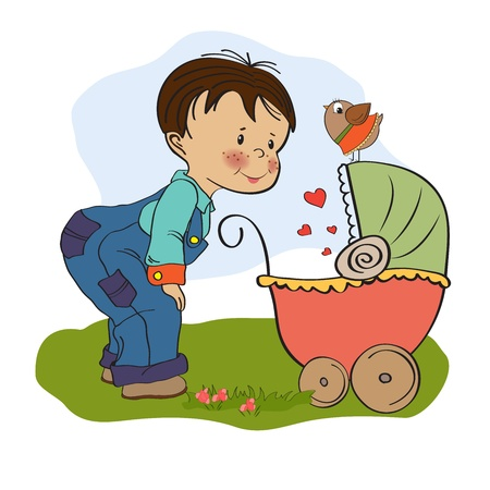 brothers: funny big brother with stroller, illustration in  format Illustration