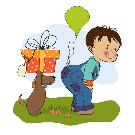little boy and his dog, birthday card  Vector