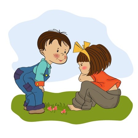 little boy playing with a little girl, illustration Stock Vector - 19930199