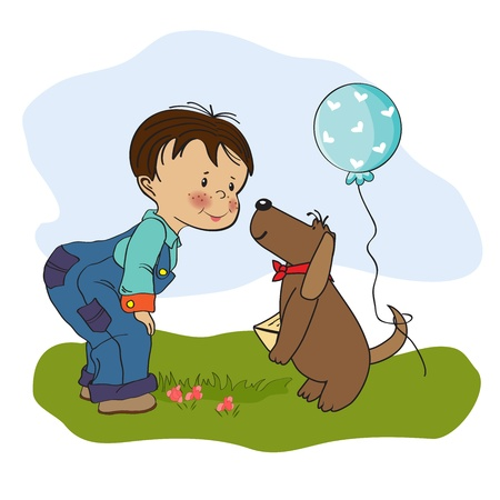 little boy and his dog, birthday card in  format Stock Vector - 19930194