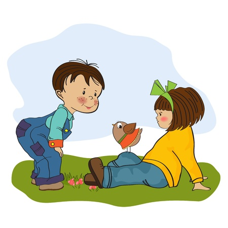 little boy playing with a little girl, illustration Stock Vector - 19930200
