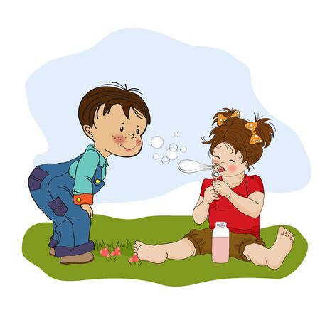 little boy playing with a little girl, illustration  Stock Vector - 19930205