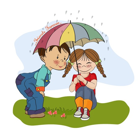 rain cartoon: little girl and little boy is best friends