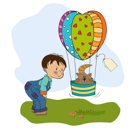 little boy and his flying cat, illustration  Stock Vector - 19930201