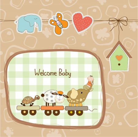 new baby announcement card with animal Vector
