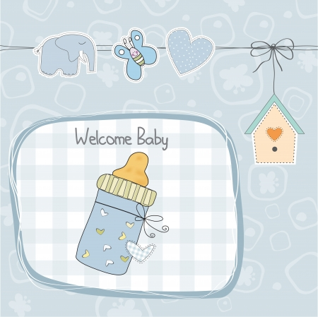 baby boyl shower card with milk bottle, illustration  Vector