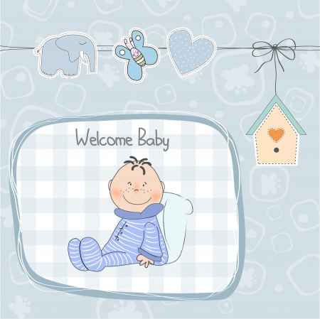 birthday boy: new baby announcement card with little baby boy Illustration