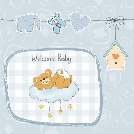 baby shower card with sleepy teddy bear,  illustration Stock Vector - 19930218