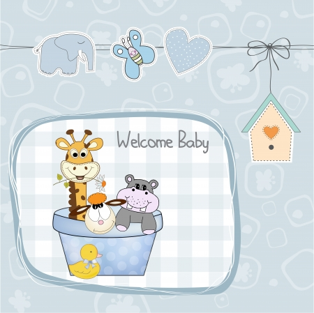baby boy shower card with toys, illustration Vector