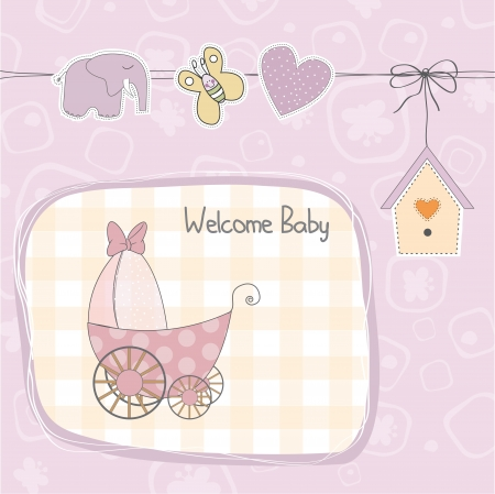 baby girl shower card with stroller, illustration  Vector