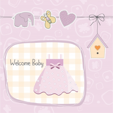 baby girl shower card with dress, illustration Vector