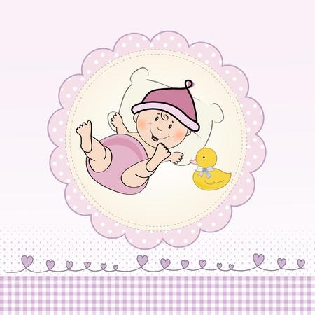 Tarjeta de Baby Shower niña, ilustración en formato vectorial Foto de archivo - 20014698