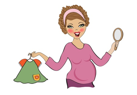 happy pregnant woman at shopping, isolated on white background, vector illustration Illustration