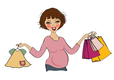 happy pregnant woman at shopping, isolated on white background, vector illustration Vector