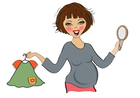 happy pregnant woman at shopping, isolated on white background, vector illustration Stock Vector - 20014620