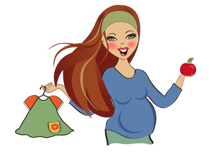 happy pregnant woman at shopping, isolated on white background, vector illustration Stock Vector - 20014606