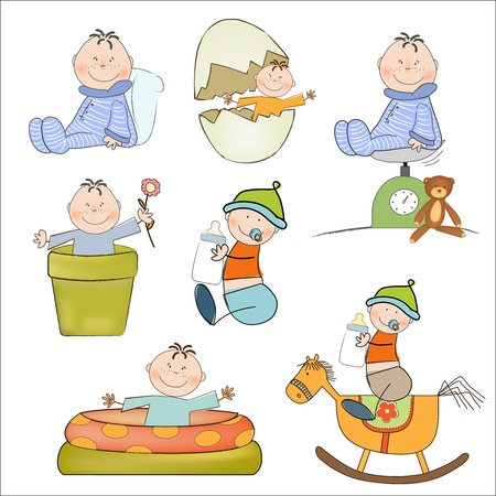 weighing scale: new baby boy items set isolated on white background, vector illustration Illustration