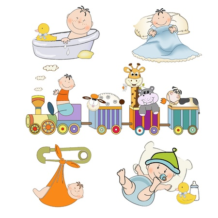 baby illustration: new baby boy items set isolated on white background, vector illustration Illustration