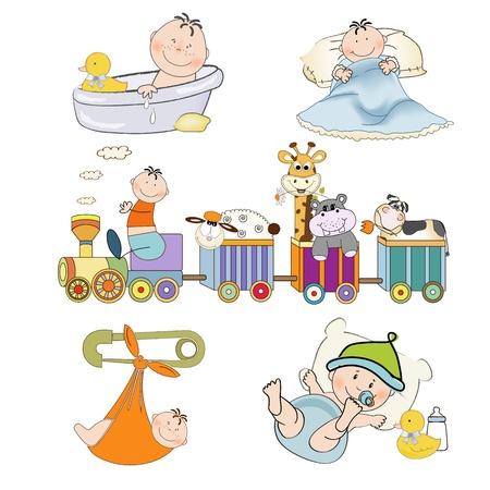 bebe azul: nuevos art?culos del beb? conjunto aislado sobre fondo blanco, ilustraci?n vectorial