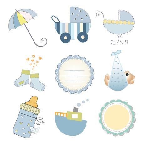 nieuwe baby boy items set geïsoleerd op een witte achtergrond, vector illustratie Stock Illustratie