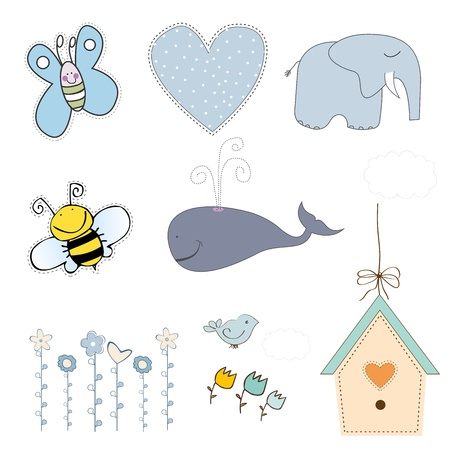 new baby boy items set isolated on white background, vector illustration 版權商用圖片 - 20169301