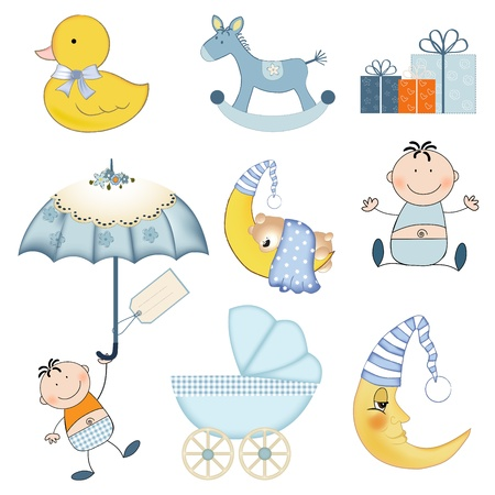 teddies: new baby boy items set isolated on white background, vector illustration Illustration